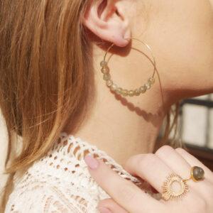 Boucles d'oreilles en pierre naturelle de Labradorite. Boucles artisanales plaquées or fabriquées à Paris. La Labradorite, pierre naturelle de protection par excellence, renforce la confiance et le calme et agit sur l'hyperactivité.